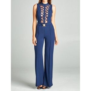 Pants - Navy Mesh Center Caged Jumpsuit